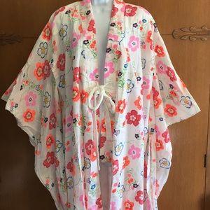 VTG Traditional Kimono Textured Cotton Floral LG
